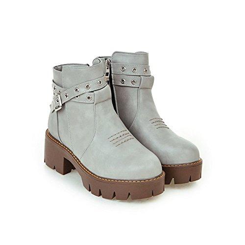 Womens Toe Legging Chunky Outdoor Grigio Boots Adeesu Heels Mesh Round dnHWZBggc6