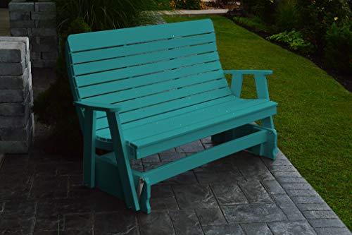 - Furniture Barn USA 4 Foot Winston Glider Bench - Aruba Blue Poly Lumber - Recycled Plastic
