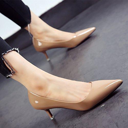 FLYRCX La primavera y el otoño zapatos damas moda patente personalidad tacones zapatos de punta fina comerciante h