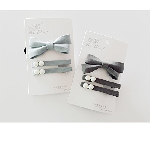 Duckbill Combination - Small fresh cloth bow hair clip duckbill pearl ring three-piece combination for women girl lady