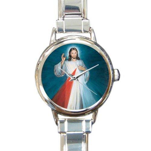 Dad/Mom/Grandma/Grandpa Gifts Christian Religious Jesus Christ Son Of God Round Italian Charm Watch ()