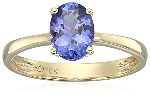 10k Yellow Gold AAA Tanzanite Oval Solitaire Engagement Ring, Size 7