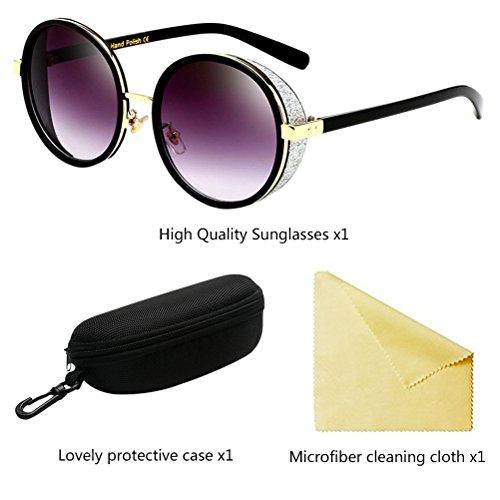 Black Mujeres UV400 Protección Zhuhaitf de Vacaciones Conducir Redondas Hombres Sol Viajar Gafas para Zx7pwqagx