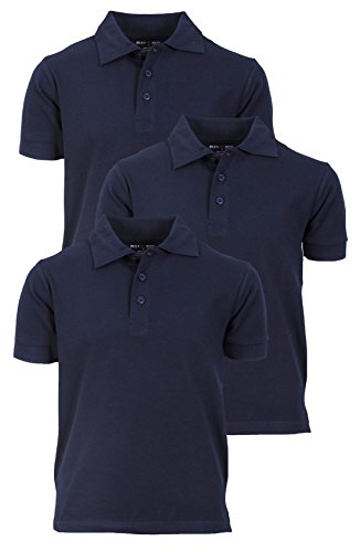 - 'Beverly Hills Polo Club 3 Pack of Boys\' Short Sleeve Pique Uniform Polo Shirts, Size 16, Navy'