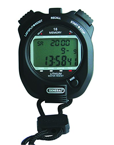 General Tools SW888L Multi-Function Black Stopwatch, 3 Line