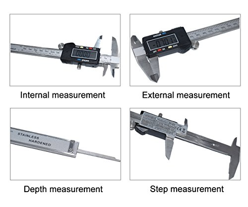 Onebycitess Metric Digital Caliper with LCD Screen 0-6 inch/150mm Stainless Steel Electronic Depth Gauge Measuring Tools by Onebycitess (Image #2)