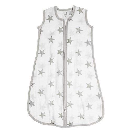 aden by aden + anais Classic Sleeping Bag, 100% Cotton Muslin, Wearable Baby Blanket, Dusty, Stars, Large, 12-18 Months