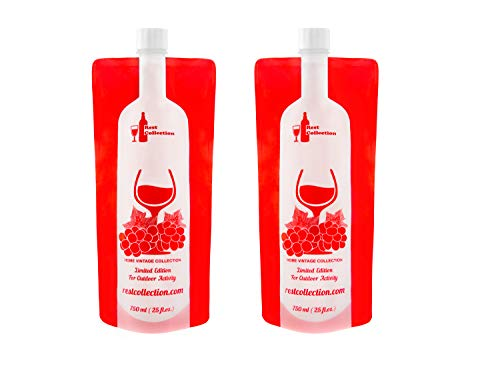 The Foldable Wine Bottle, Reusable Bag For Wine to Go, Unbreakable Gear Accessories. Bag For Camping, Hiking, Beach. Fun Gifts. Travel Premium Kit, Heavy Duty Plastic Collapsible Flask, Double Pack