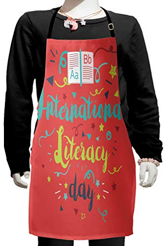 Lunarable ABC Classroom Kids Apron, International Literacy Day Calligraphy Celebration Doodle Stars, Boys Girls Apron Bib with Adjustable Ties for Cooking Baking and Painting, Dark Coral Turquoise