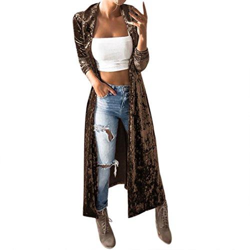 Coat Velvet Print (Mose Ladies Vest Womens Spring Velvet Sleeveless Cardigan Parka Outerwear Coat (Coffee, M))