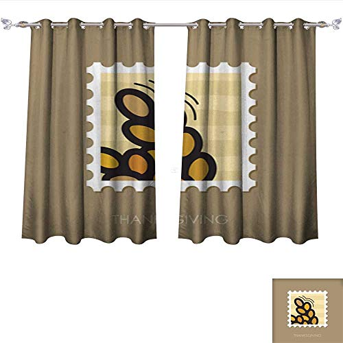 Chandelier Wheat 4 Light (Room Darkening Wide Curtains Spikelets Wheat Stamp Harvest Thanksgiving Tie Up Window Drapes Living Room W120 x L72/Pair)