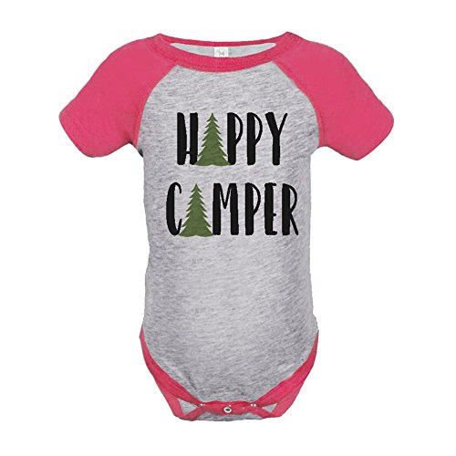 Custom Party Shop Girl's Happy Camper Outdoors Raglan Onepiece 18 Months Pink