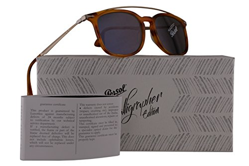 Persol PO3173S Calligrapher Edition Sunglasses Striped Brown Gold w/Blue Lens 54mm 96056 PO 3173-S PO3173-S PO - Handmade Persol Sunglasses