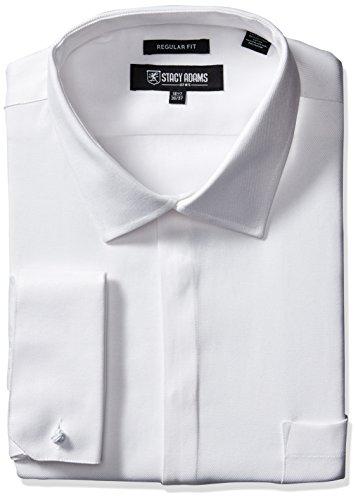 STACY ADAMS Men's Big-Tall Textured Solid Dress Shirt, White, 18
