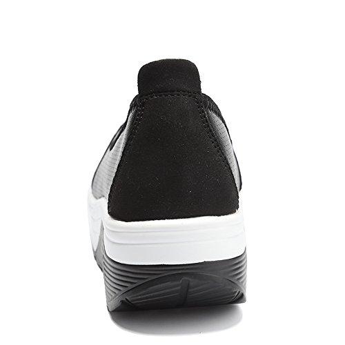 Enllerviid Donne Atletiche Scivolano Sulla Piattaforma Fitness Tonificante Sneakers Modellano Scarpe Da Passeggio 2962 Nere