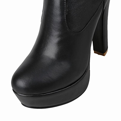Mee Shoes Damen high heels backstrap overknee Stiefel Schwarz
