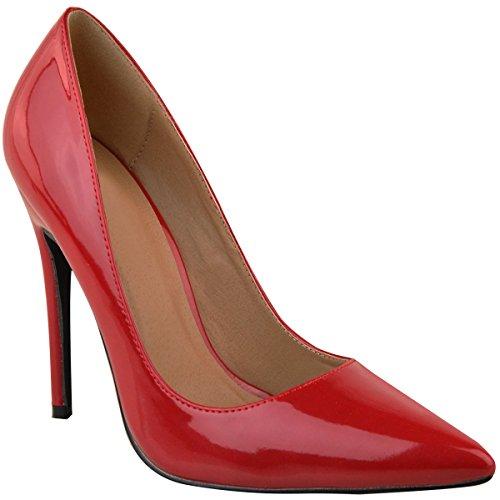 Hauts Fête à Mariée Talons Bout Fashion Aiguilles Escarpins Été Thirsty Soirée Femme Pointu Verni Habillés Rouge FvwaU0q