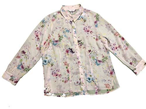 Banks Clothing Womens Cj - CJ BANKS Women's Semi Sheer Floral Print Button Front Blouse Plus Size 14W X White