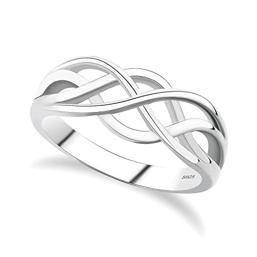 GULICX 925 Sterling Silver Ring Celtic Everlasting Love Knot Filigree...