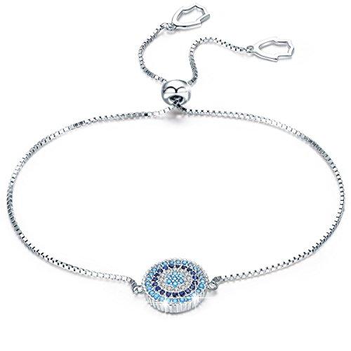 Luck Blue Evil Eye Bracelet - BAMOER 925 Sterling Silver Expandable Lucky Blue Evil Eye Chain Bracelet With Sparkling Cubic Zirconia for Women Girls Style 2