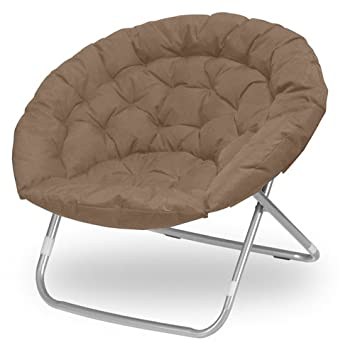 mac at home extra large moon chair with ottoman. oversized folding moon chair, multiple colors, large, round (khaki) mac at home extra large chair with ottoman