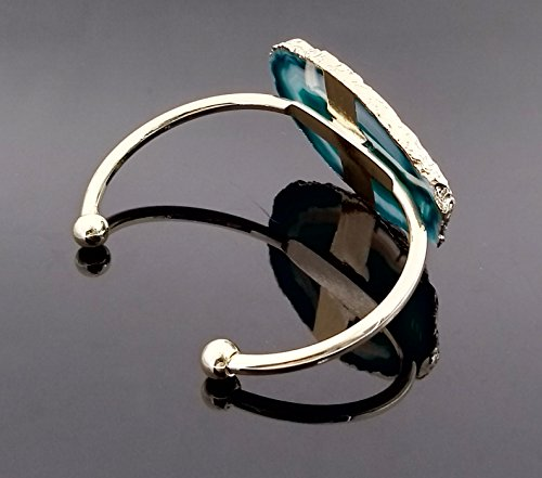 CILILI Natural Stone Agate Bangle Bracelets Rose Gold For Women or Girl (Green) by CILILI (Image #5)