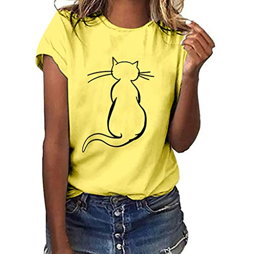 - LYN Star✨ Women's Cute Cat Graphic Abstract Paint Splatter Casual T-Shirt Top Yellow