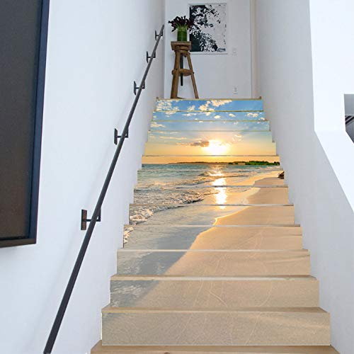 FLFK 13PCS/Set 3D Sunrise Ocean Beach Self-Adhesive Stair Risers Stickers Vinyl Staircase Stickers Stairway Decal Wallpaper 39.3Inch x7.08Inch by FLFK (Image #6)