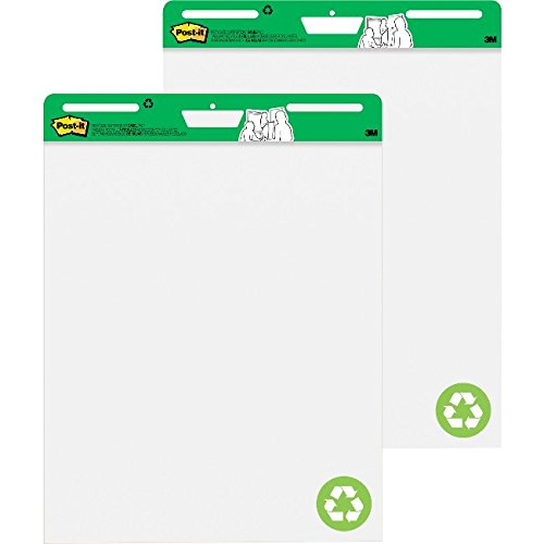 Post-it Super Sticky Easel Pad, 25 x 30 Inches, 30 Sheets/Pad, 2 Pads (559RP), Large White Recycled Premium Self Stick Flip Chart Paper, Super Sticking Power (Post Sticky Super Recycled)