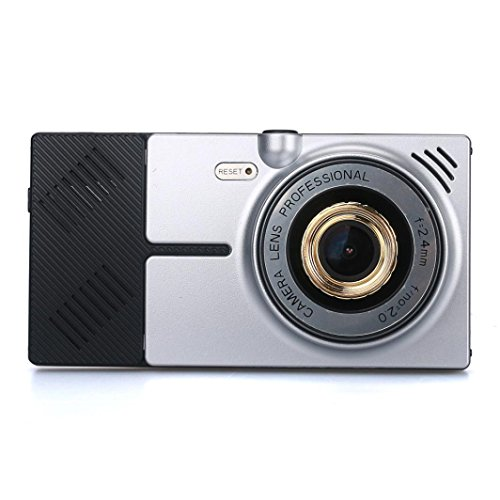 Dual Car Camera   Koolee 5 Inch Android Wifi Network 1080P Hd Car Dvr Camera  Rear View Mirror 8Gb 4 Core  Anti Glare Lenses Car Camera  Silver