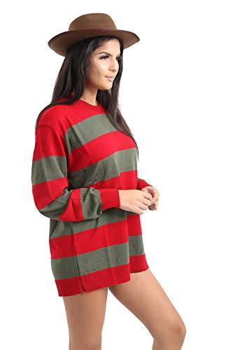 amp; Green m Girls Fancy Red Ladies shirt Women Jumper Krueger T Zymalmaya Accessories Part Knitted Style Freddy Dress Stripe Hat Costume YASRWq