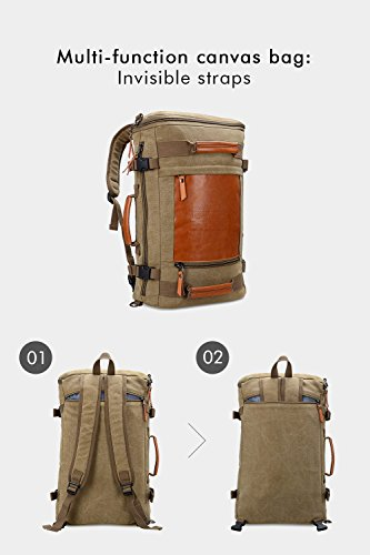 WITZMAN Men Vintage Canvas Rucksack Travel Duffel Backpack Retro Hiking Bag 2033 (19 inch Green) by WITZMAN (Image #5)