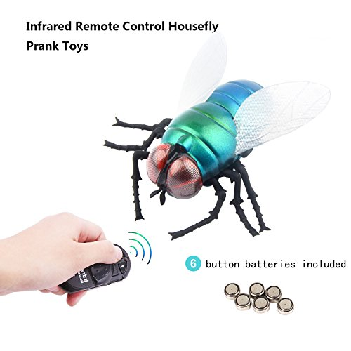 Realistic Infrared Ray Housefly Toys, Mock Inductive Fake Simulation Giant Fly Flies Housefly Novelty Toy Prank Toys Insects Joke Scary Trick Bugs For Party Favors Children's day Gift (Fake Jumbo)