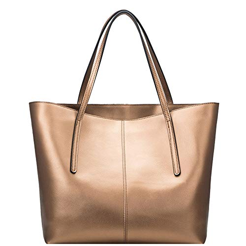 Womens Pu Leather Tote Bags Handbag Soft Top Handle Shoulder Bag Large Bag,Gold-OneSize