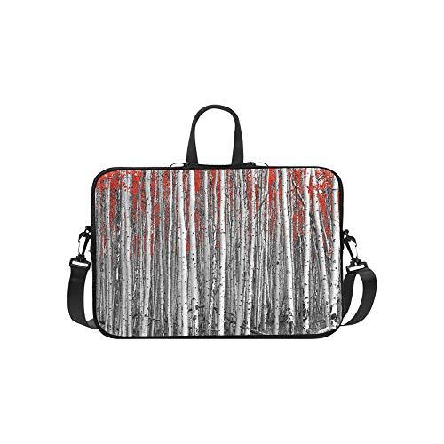 (Red Leaves in A Black and White Forest Landscape Pattern Briefcase Laptop Bag Messenger Shoulder Work Bag Crossbody Handbag for Business Travelling)
