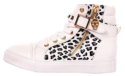 High Increat Fermeture Pour Chaussures Femme Éclair Wedge Mort Whiteleopard Sneaker Imayson Top À De Tm Tête Lacets 4Yxq6T
