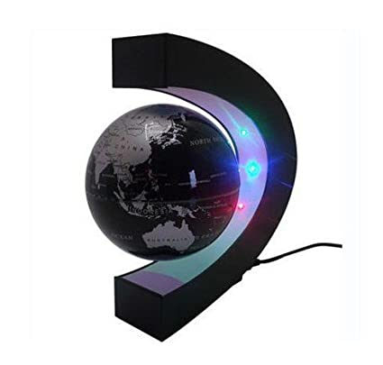 E-Plaza C Forma Fluttuante Globo con LED Luci Magnetico Campo Levitazione Istruzione Globo per Casa Ufficio Decorazione (4 Pollici, Bianco) Eplze