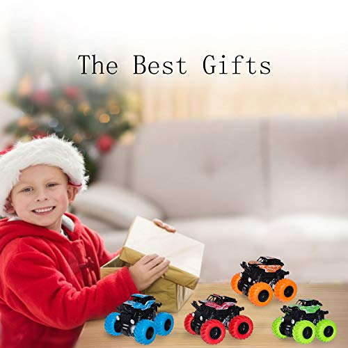 4 Pack Monster Truck Toys for Boys and Girls, Inertia Car Pull Back Vehicle Playsets, Friction Powered Push and Go Toy Cars, Christmas Gift Birthday Party Supplies for Toddlers Kids Ages 3+