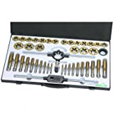 Tap and Die Set 45 Piece METRIC Titanium Nitride Coated Alloy Steel with Storage Case