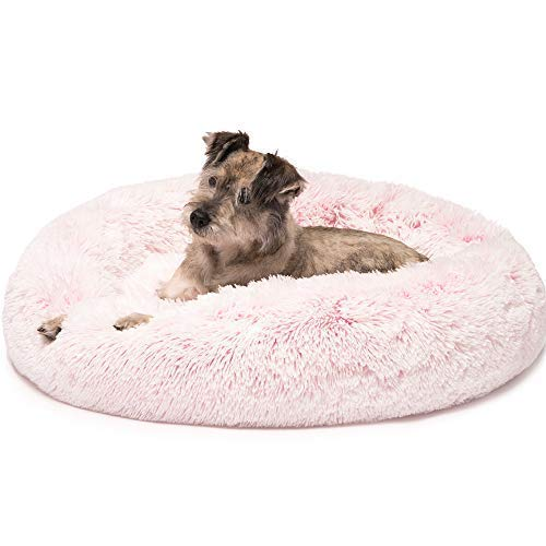 Dog Luxury Bed Donut (Friends Forever Premium Donut Bolster Orthopedic Dog Bed for Puppy to Medium Dogs & Cat, Medium Pink)