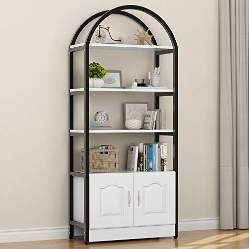 """LITTLE TREE 4-Shelf Bookshelf, Etagere Bookcase with Cabinet, Display Storage wtih Doors & Shelves Organizer for Collection, Pure White Finish & Black Metal Frame, 32"""" 14 """"70""""(LWH) (White) - Tall Bookcase Cabinet"""