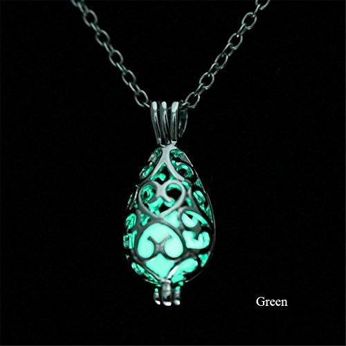 KeyZone Girls Steampunk Fairy Teardrop Glow in the Dark Necklace Jewelry ()