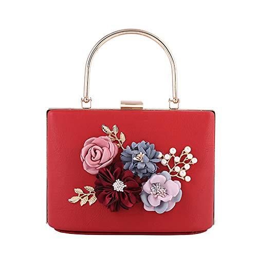 chaîne à pour à pour 01 élégant 8 mariage Pochette Rouge Wanfor fleurs femmes à à Luxe embrayage COLORS pampille qwxtxzFP