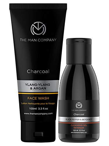 The Man Company De-Tan Pack (Charcoal face wash + charcoal Cleansing gel) Set of 2 | Made in India