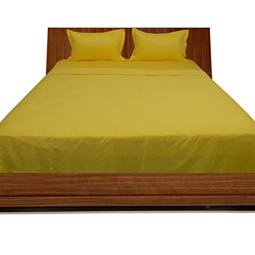 Relaxare Cal Queen 300TC 100% Egyptian Cotton Yellow Solid 4PCs WaterBed Sheet Solid (Pocket Size: 29 inches)
