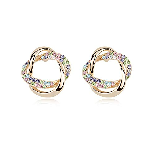 - Double Knot Earrings Champagne Gold Color Stud Earrings Made with Austria Crystals for Women Wedding Party (Multicolor)