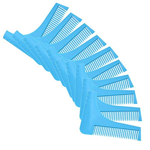 Phong's 10pc New Comb Beard Trimmer Shaping Tool Sex Man Gentleman Beard Trim Template Beard Combs Shaving Hair Molding (blue)