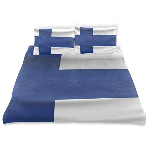 - Finland Flag Kids Bedding Cotton Satin Duvet Cover Set,Twin Size 3 Piece Including 1 Duvet Cover+2 Pillowcases