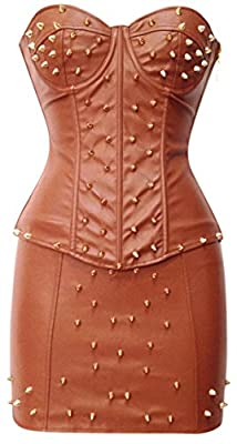 Kimring Women's Steampunk Gothic Faux Leather Spiked Pad Push Up Corset With Skirt