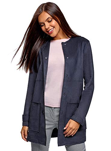 oodji Ultra Women's Faux Suede Coat with Patch Pockets, Blue, 10